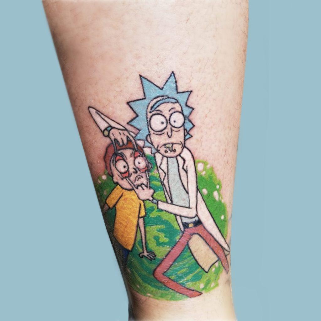 Rick and Morty Tattoo by Artist Megan at Folk Tattoo Studio Stellenbosch